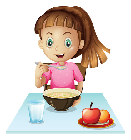 niños desayunando: Ilustración de una muchacha que come el desayuno en un fondo blanco