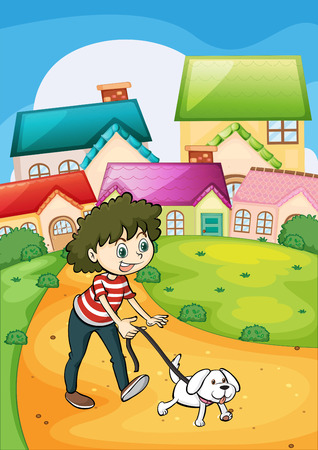 Illustration of a lady strolling with her white puppy Vector