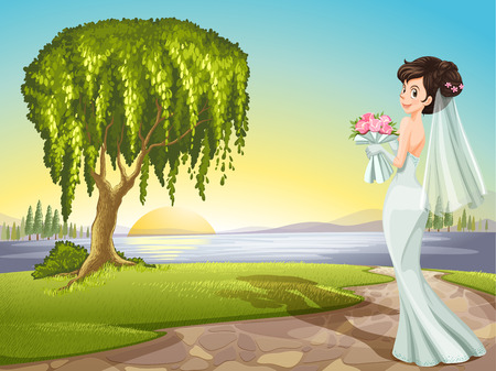 Illustration of a bride at the road Vector