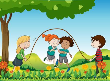 playmates: Ilustración de los cuatro niños jugando bajo el árbol