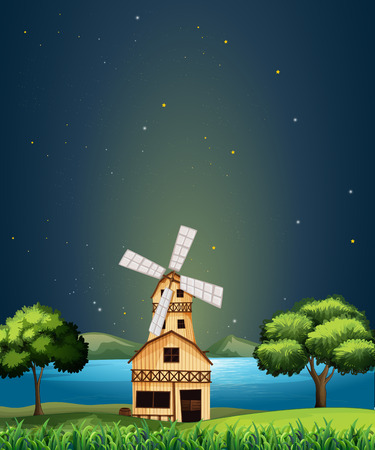 swingdoor: Illustration of a wooden barnhouse at the river with a windmill