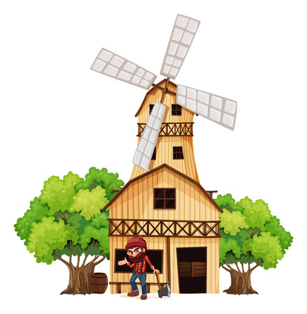 Illustration of a woodman holding an axe beside the wooden building on a white background Vector