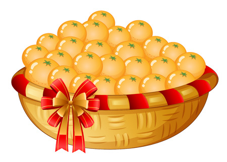 Illustration of a basket of oranges on a white background Vector