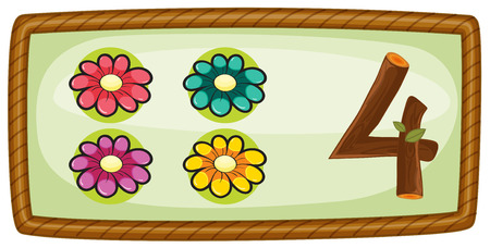 Illustration of a frame with four flowers on a white background Vector