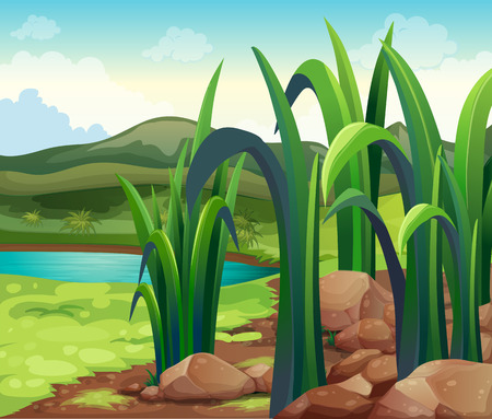 Illustration of a river near the hills Vector