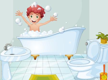Illustration of a cute boy taking a bath Illustration