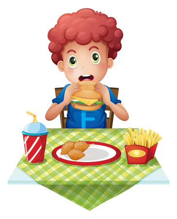 Illustration of a curly-haired boy eating at a fastfood restaurant on a white background Vector