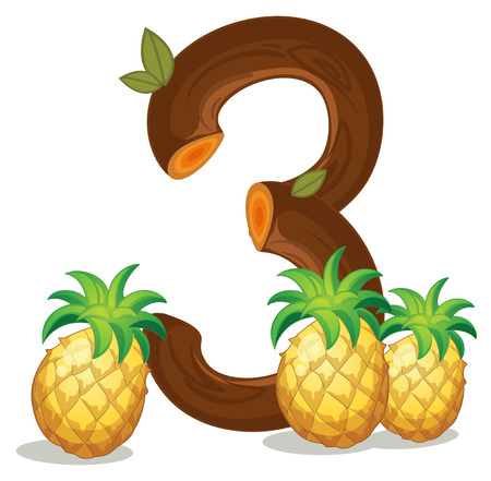 Illustration of the three pineapples on a white background Vector