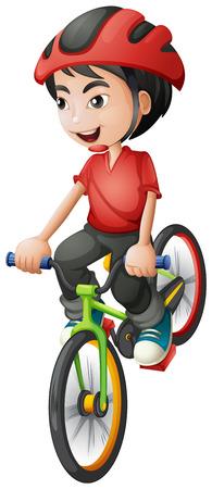 Illustratie van een jongen zijn fiets op een witte achtergrond