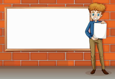 wall angle corner: Illustration of a tall businessman standing beside the empty whiteboard