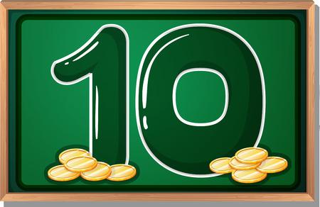 multiple image: Illustration of a blackboard with ten coins Illustration