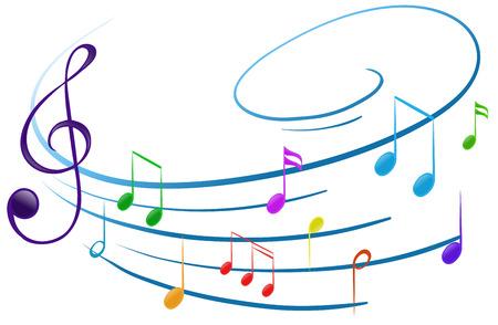 Illustratie van de muzieknoten op een witte achtergrond