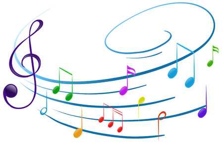 eighth note: Illustration of the musical notes on a white background
