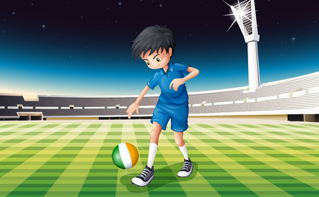 footwork: Illustration of a boy at the field using the ball with the flag of Ireland
