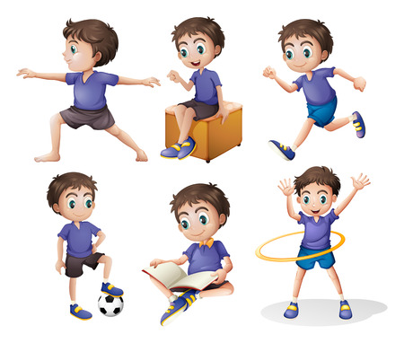 activity exercising: Illustration of the different activities of a young boy on a white background