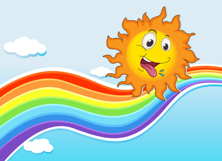 Illustration of a sky with a rainbow and a happy sun Vector
