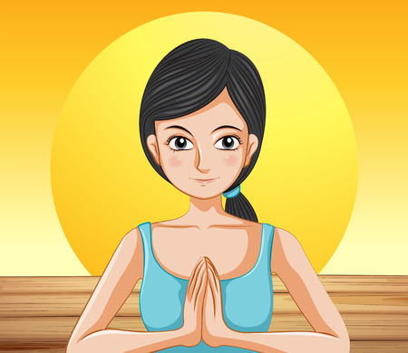 meditate: Illustration of a pretty lady doing yoga