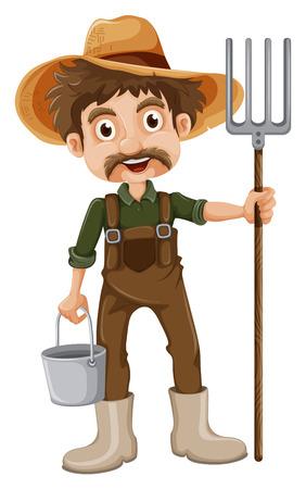 jumpsuit: Illustration of a smiling gardener on a white background
