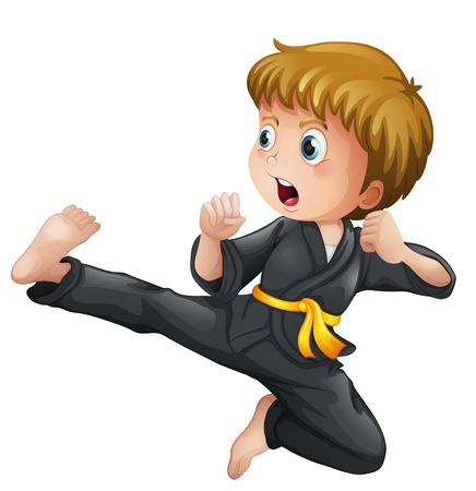 Illustration of a young boy showing his karate moves on a white background Ilustração