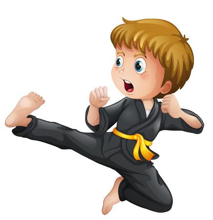 Ilustración de un muchacho joven que muestra su karate se mueve sobre un fondo blanco Foto de archivo - 28203188