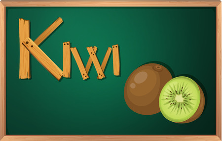Illustration of a blackboard with kiwi Vector