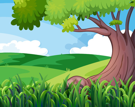 Illustration of a big tree at the hills Vector
