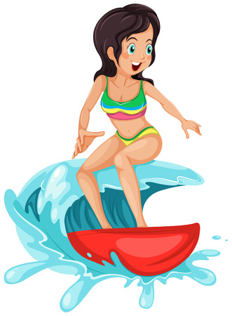 Illustration of a young lady surfing on a white background