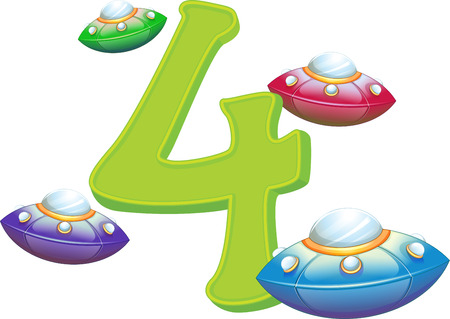 Illustration of the four flying saucers on a white background Vector