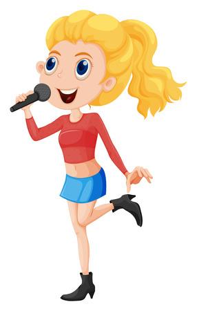 Illustratie van een jonge zanger op een witte achtergrond