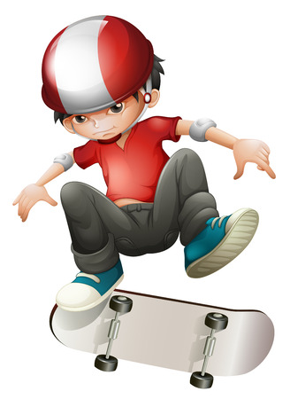 one boy: Illustration of a young man playing with his skateboard on a white background