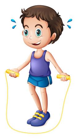�jumping: Ilustraci�n de un hombre joven que juega con la cuerda de saltar sobre un fondo blanco Vectores