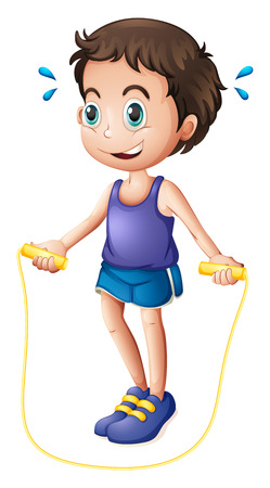 Illustration of a young man playing with the skipping rope on a white background Illustration