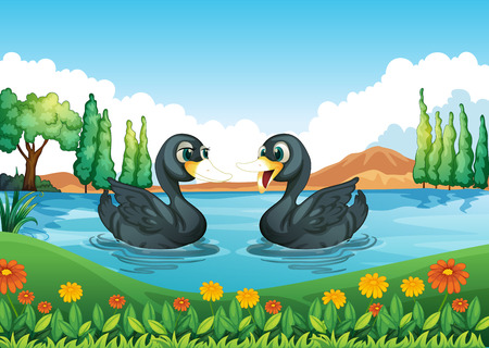 Illustration of a river with two ducks Vector