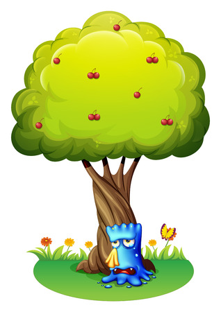 Illustration of a blue monster sobbing under the tree on a white background Stock Vector - 28203281
