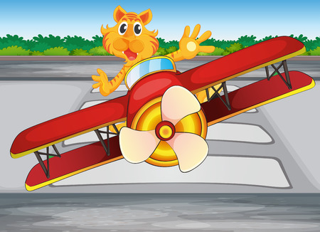 Illustration of a boastful tiger riding a plane Vector