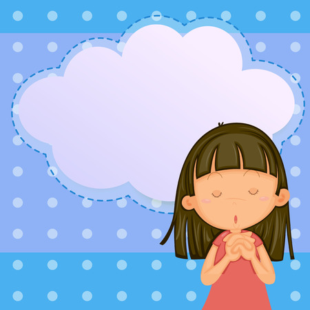 niño orando: Ilustración de un Modelo de la tarjeta con una chica joven Vectores