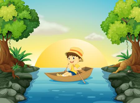 Illustration of a boy boating Vector