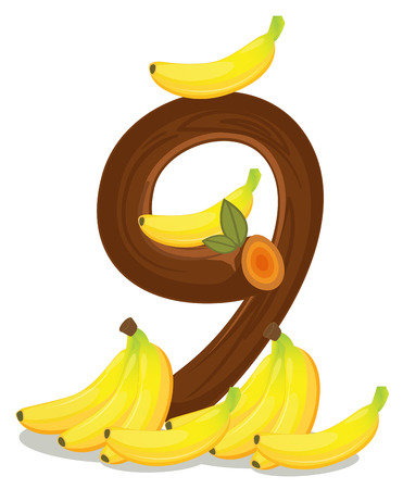 Illustration of the nine bananas on a white background Vector