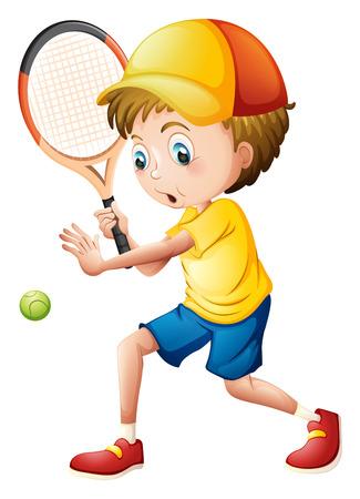 白い背景でテニスをして若い男のイラスト