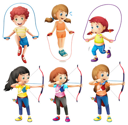 jumping: Illustration of the kids with different hobbies on a white background