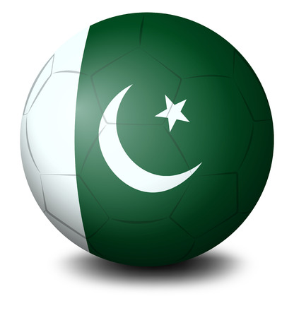 footwork: Illustration of a soccer ball with the flag of Pakistan on a white background