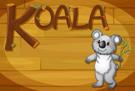 Illustration of a wooden frame with a koala Vector