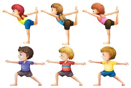 hombres haciendo ejercicio: Ilustración de las niñas y los niños que hacen yoga en un fondo blanco