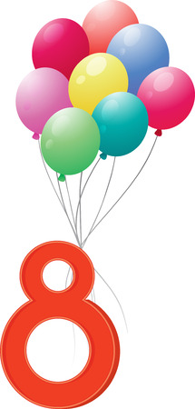 thread count: Illustration of the eight colourful balloons on a white background