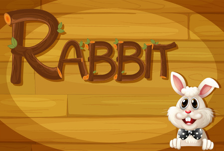 Illustration of a wooden frame with a rabbit Vector
