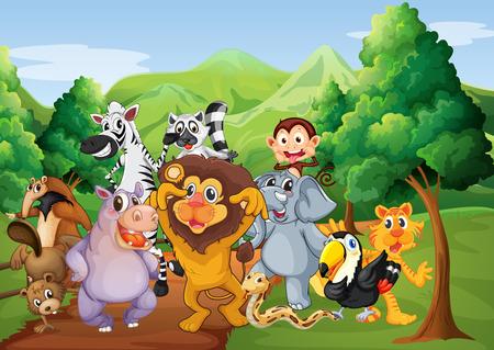 Illustratie van een groep van dieren bij de jungle