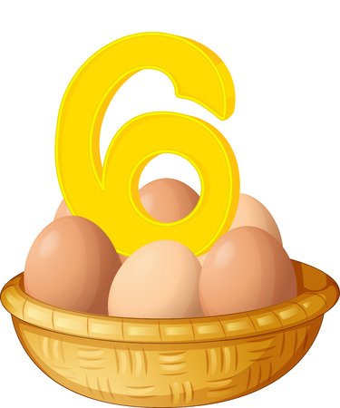numbering: Illustration of the six eggs on a white background