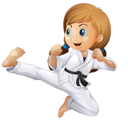 patada: Ilustración de una niña haciendo karate en un fondo blanco