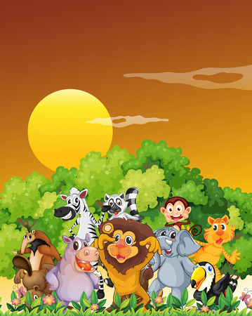 Illustration of a group of animals at the forest Vector