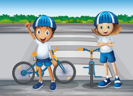 playmates: Ilustración de una niña y un niño con sus bicicletas de pie cerca de la calle peatonal